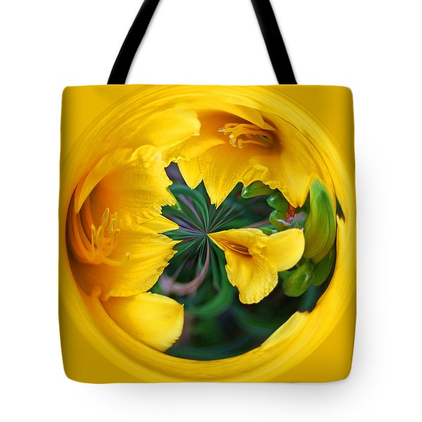Tote Bag featuring the photograph Yellow Lily Orb by Bill Barber