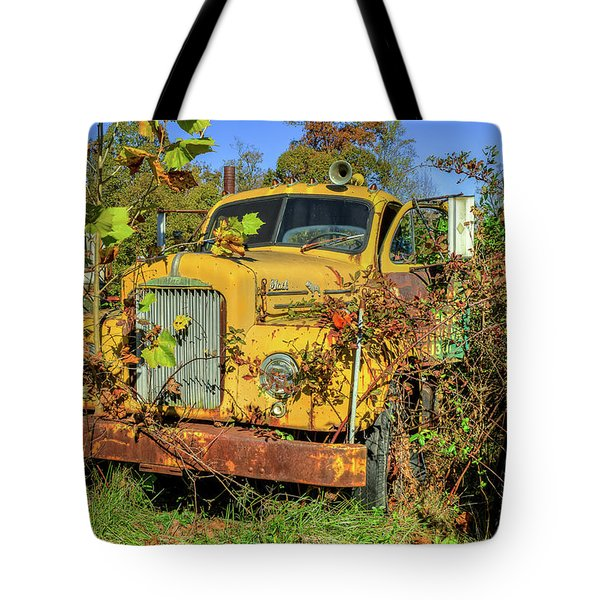 Tote Bag featuring the photograph Yellow Mack Truck by Jerry Gammon