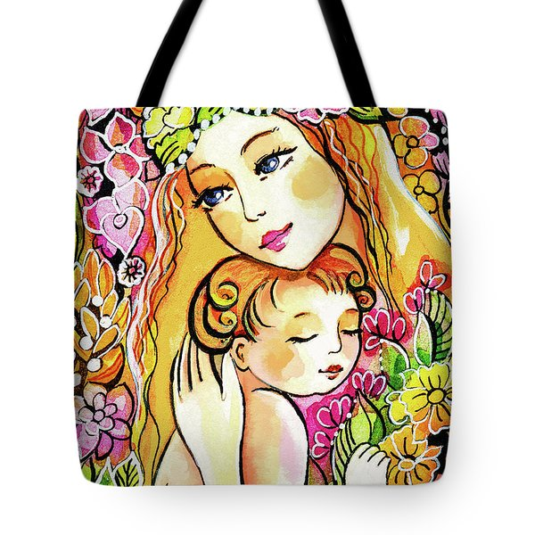 Tote Bag featuring the painting Yellow Madonna With Child by Eva Campbell