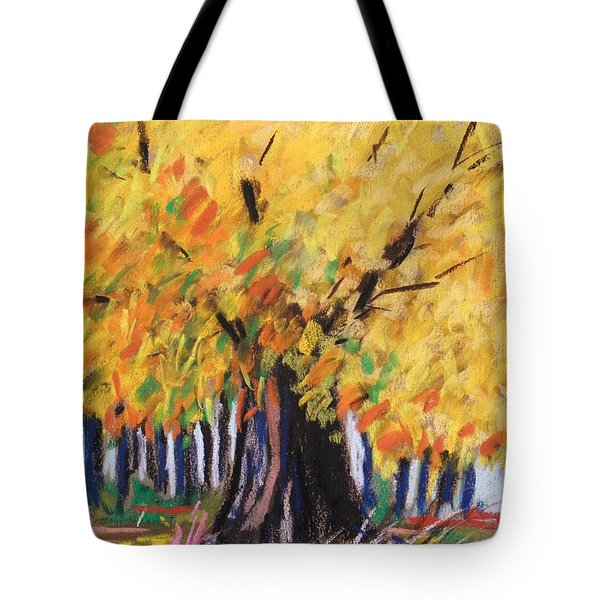 Yellow Maple Wet Trunk Tote Bag by John Williams