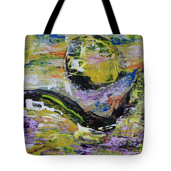 Yellow Moon Abstract Tote Bag
