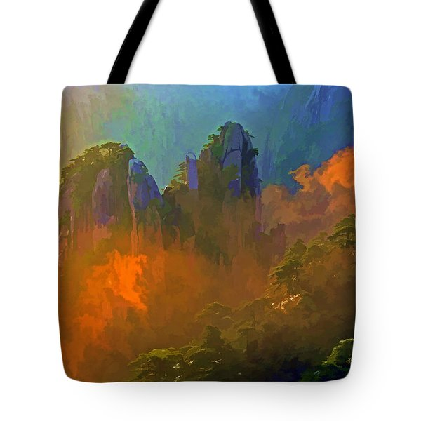 Yellow Mountain Sunrise Tote Bag