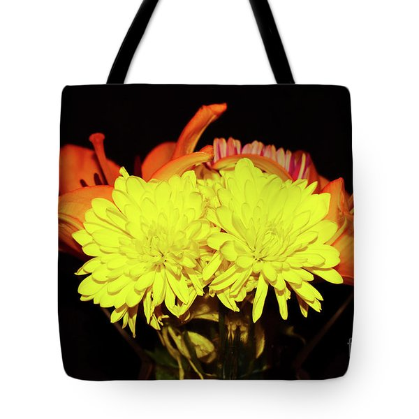 Yellow Mums And Orange Lilies  Tote Bag
