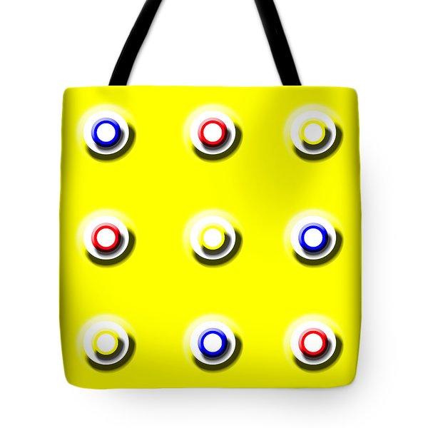 Yellow Nine Squared Tote Bag
