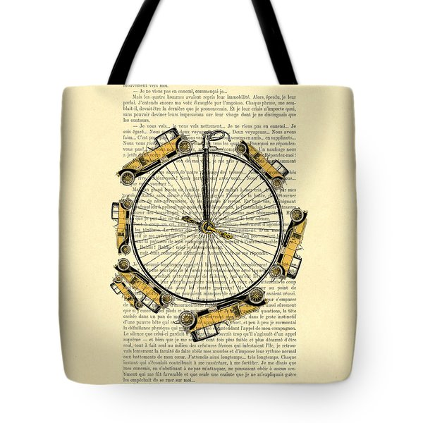 Yellow Oldtimers On A Bicycle Wheel Antique Illustration On Book Page Tote Bag