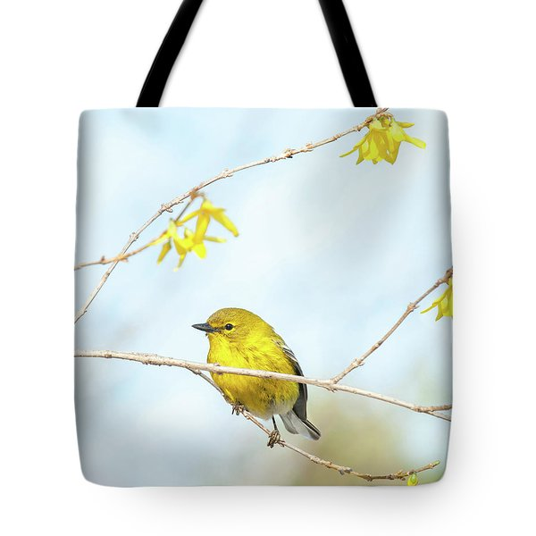 Yellow On Yellow Pine Warbler Tote Bag