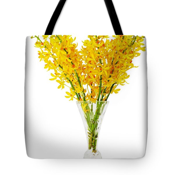 Yellow Orchid In Crystal Vase Tote Bag by Atiketta Sangasaeng