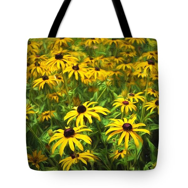 Yellow Painted Petals Tote Bag