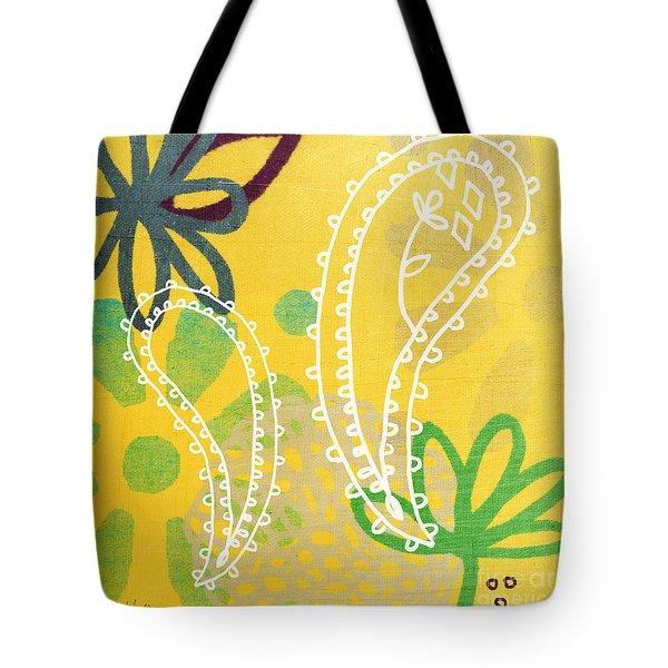 Yellow Paisley Garden Tote Bag by Linda Woods