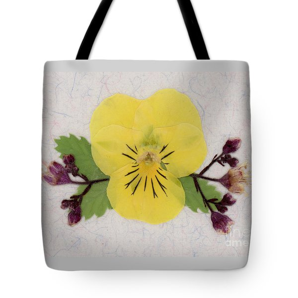 Yellow Pansy And Coral Bells Pressed Flowers Tote Bag