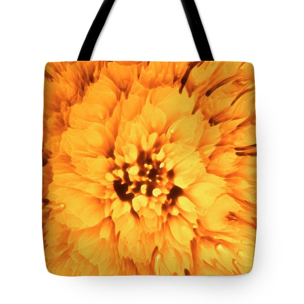 Yellow Flower Under The Microscope Tote Bag