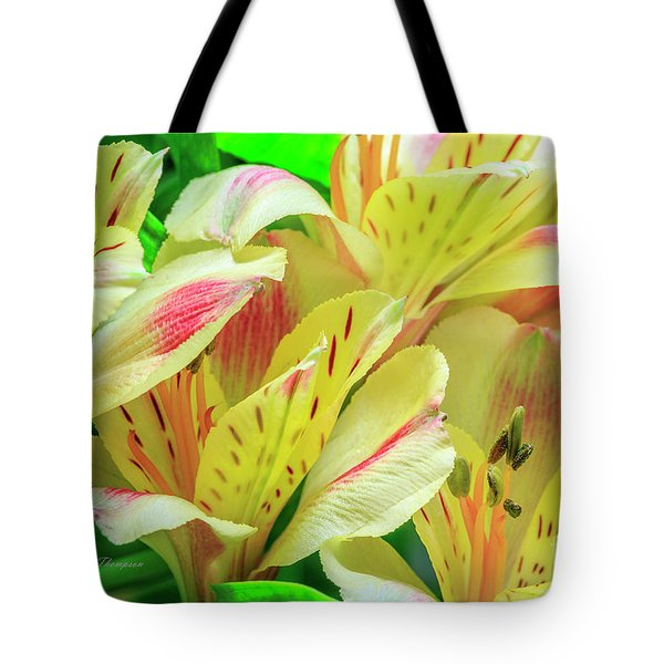 Tote Bag featuring the photograph Yellow Peruvian Lilies In Bloom by Richard J Thompson