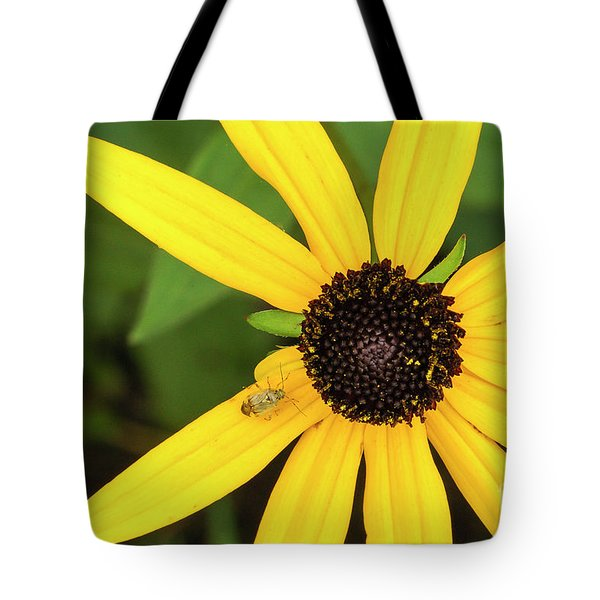 Yellow Petaled Flower With Bug Tote Bag