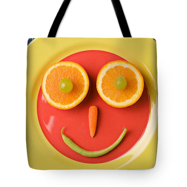 Yellow Plate With Food Face Tote Bag by Garry Gay