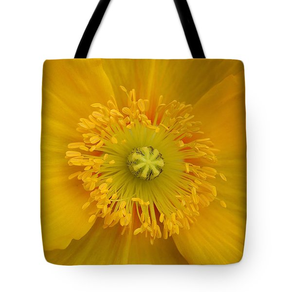 Yellow Poppy Flower Center Tote Bag