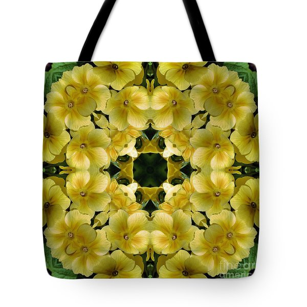 Yellow Primrose Kaleidoscope Tote Bag