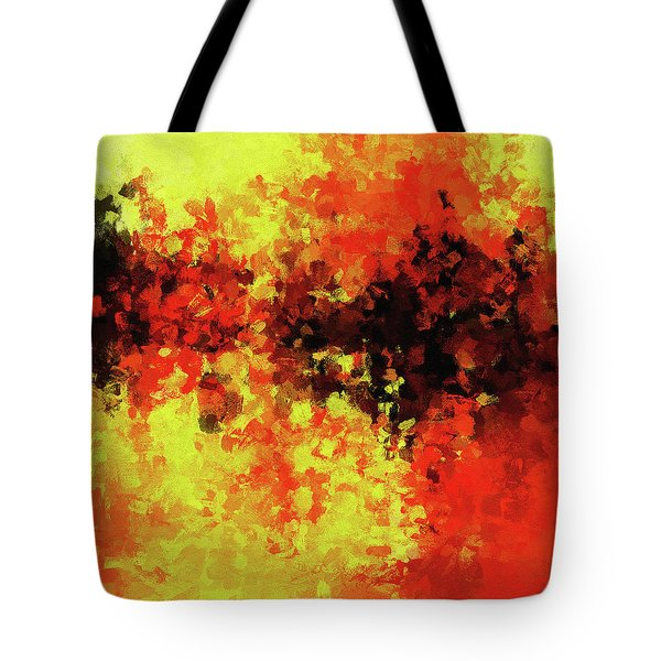 Tote Bag featuring the painting Yellow, Red And Black by Ayse Deniz