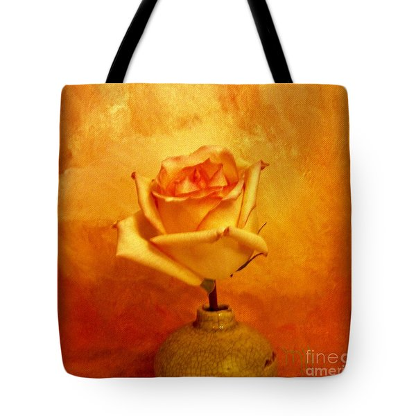 Tote Bag featuring the photograph Yellow Red Orange Tipped Rose by Marsha Heiken