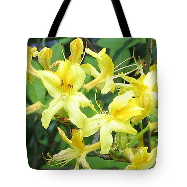 Yellow Rhododendron Tote Bag by Carla Parris
