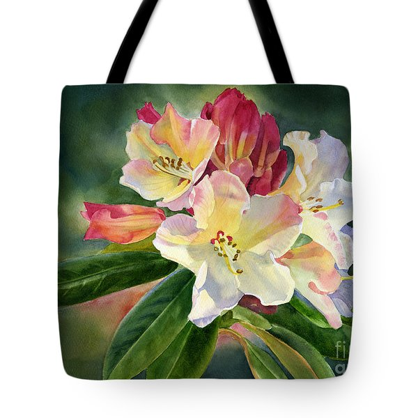 Yellow Rhododendron Dark Background Tote Bag by Sharon Freeman