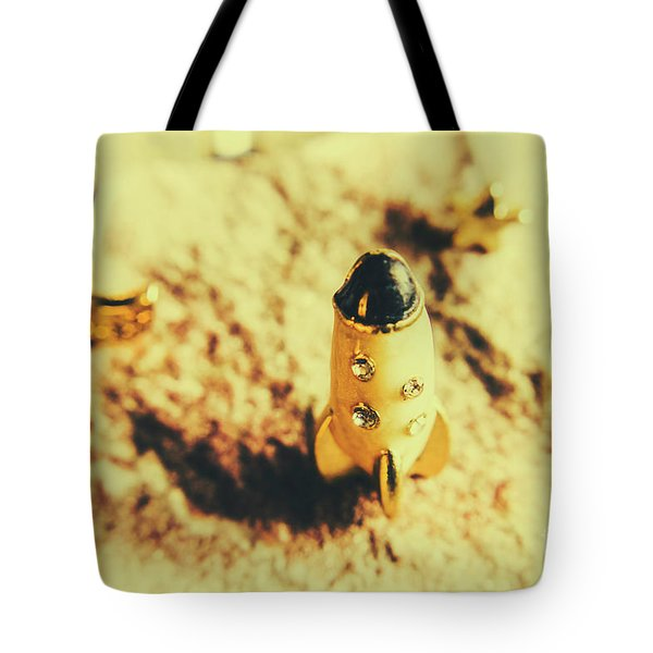 Yellow Rocket On Planetoid Exploration Tote Bag