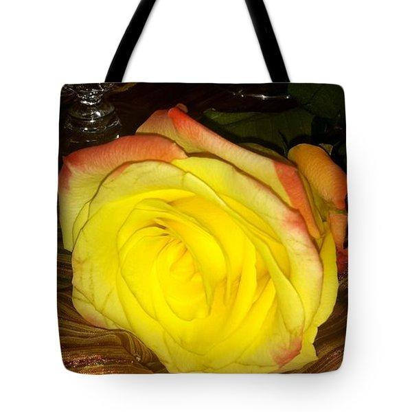 Yellow Rose And Grapes Tote Bag
