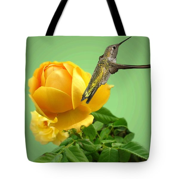 Yellow Rose And Hummingbird 2 Tote Bag by Joyce Dickens