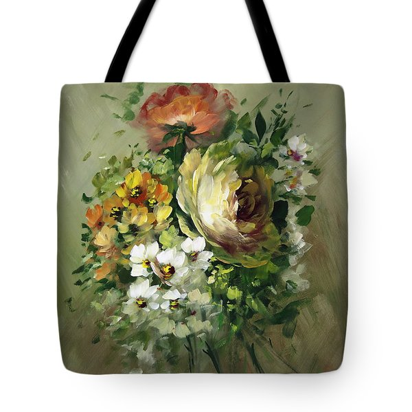 Yellow Rose And White Blossoms Tote Bag by David Jansen