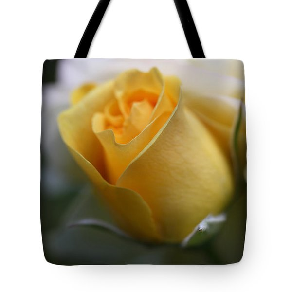 Yellow Rose Bud Flower Tote Bag by Jennie Marie Schell