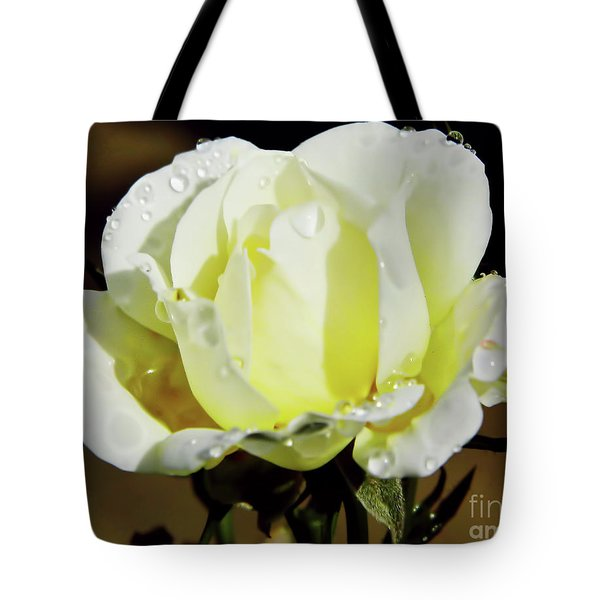 Yellow Rose Dew Drops Tote Bag