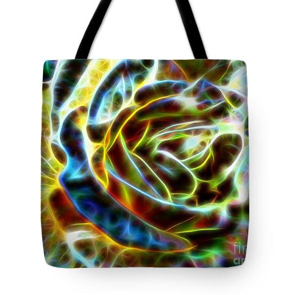 Yellow Rose Fractal Tote Bag