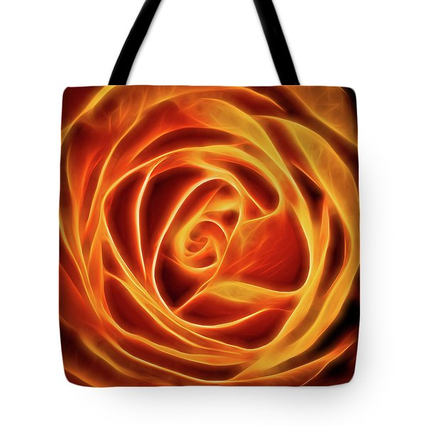 Yellow Rose Glow Square Tote Bag by Terry DeLuco