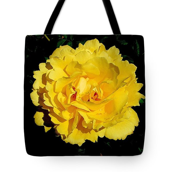 Yellow Rose Kissed By The Rain Tote Bag