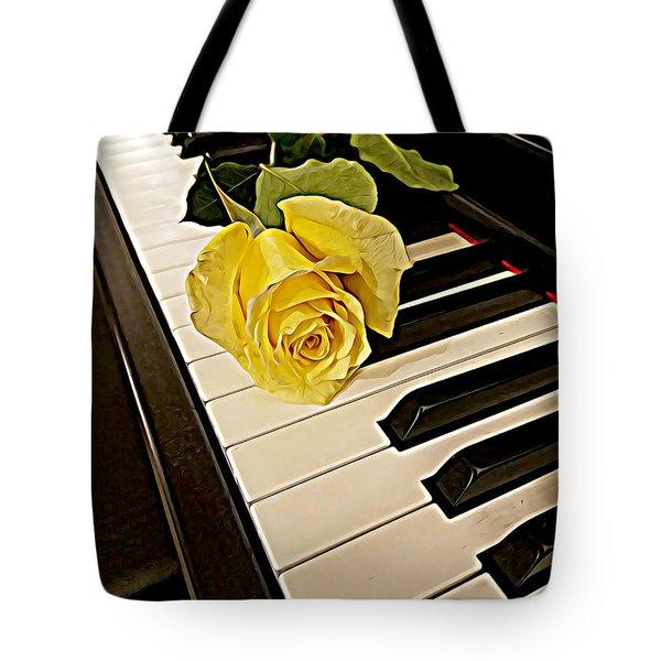 Yellow Rose On Piano Keys Tote Bag
