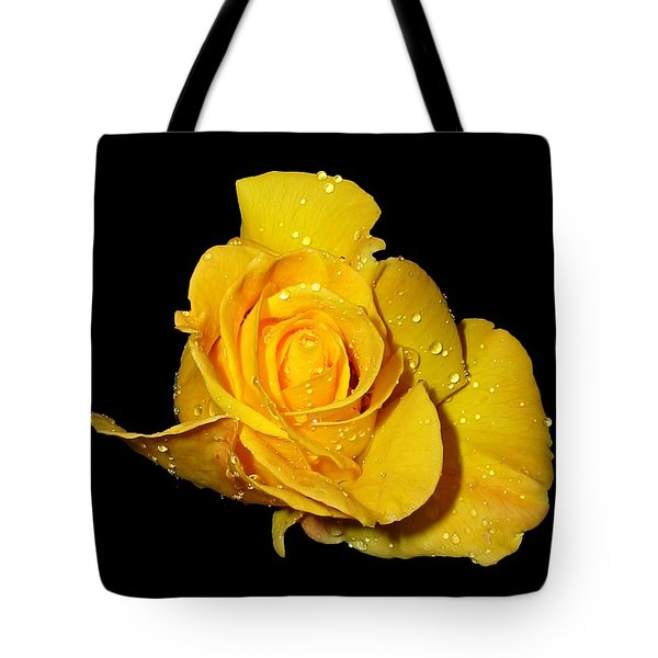Yellow Rose With Dew Drops Tote Bag