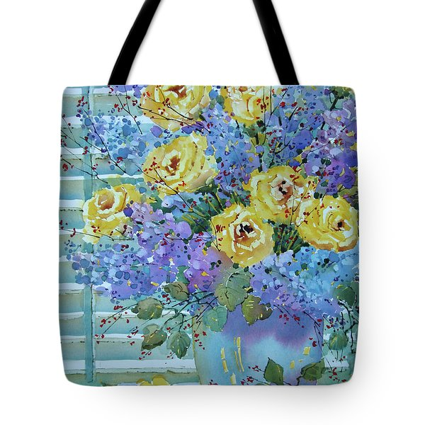 Yellow Roses And Lilacs Tote Bag