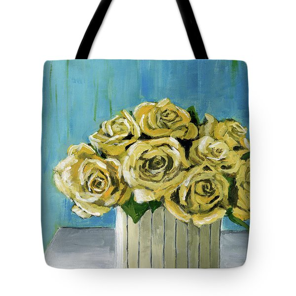 Yellow Roses In Vase Tote Bag