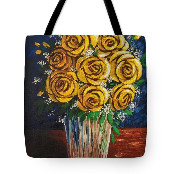 Tote Bag featuring the painting Yellow Roses by Katherine Young-Beck