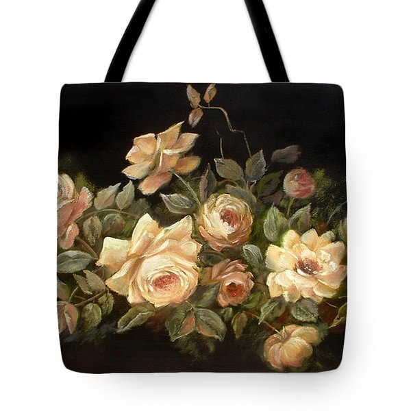 Yellow Roses On Black  Tote Bag