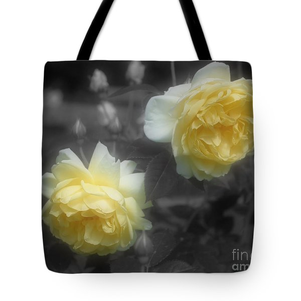 Yellow Roses Partial Color Tote Bag