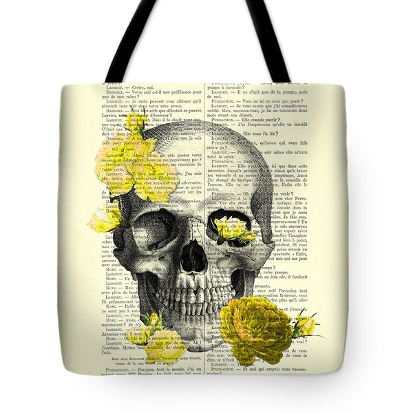 Skull With Yellow Roses Dictionary Art Print Tote Bag