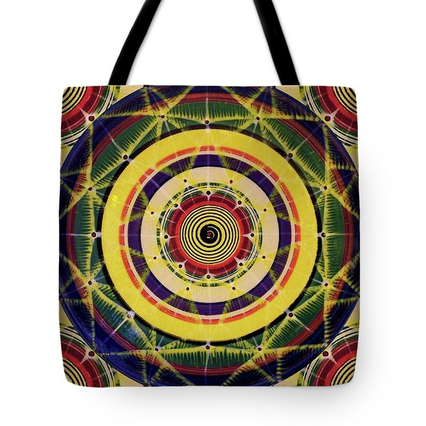 Tote Bag featuring the painting Yellow Spiral by Kym Nicolas