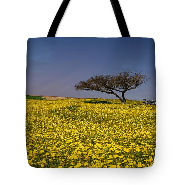 Yellow Spring Tote Bag by Uri Baruch
