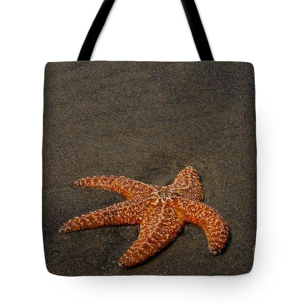 Orange Starfish On Oregon Beach Tote Bag by Chuck Flewelling