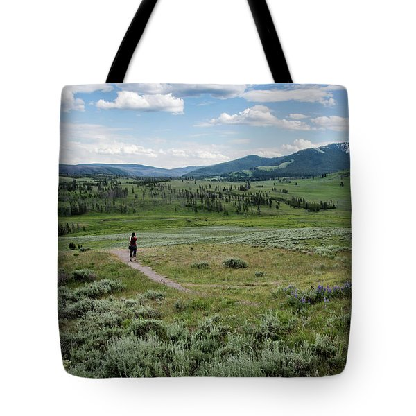 Tote Bag featuring the photograph Yellow Stone Mountains by Mae Wertz
