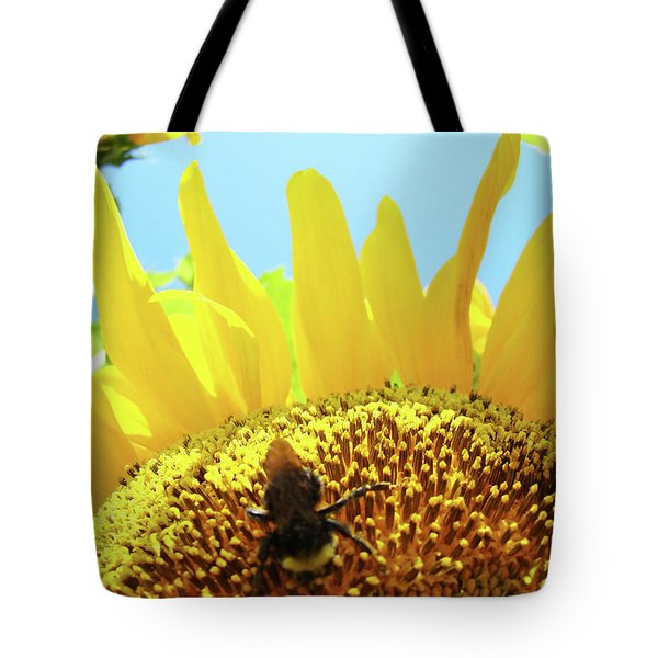 Yellow Sunflower Art Prints Bumble Bee Baslee Troutman Tote Bag by Baslee Troutman