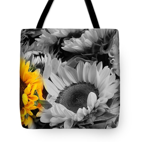 Yellow Sunflower On Black And White Tote Bag by Dora Sofia Caputo Photographic Art and Design
