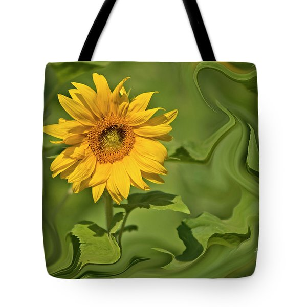 Yellow Sunflower On Green Background Tote Bag