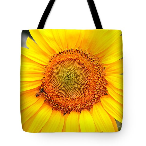 Yellow Sunflower With Bee Tote Bag by Amy Fose