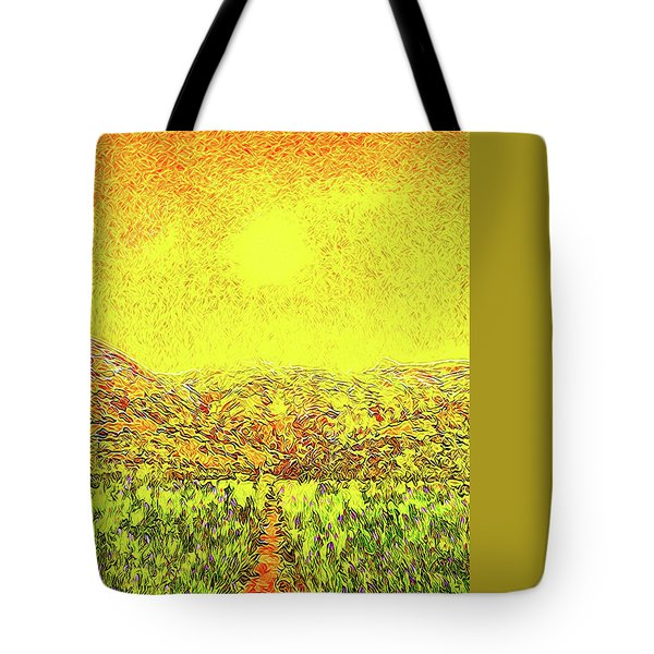 Tote Bag featuring the digital art Yellow Sunlit Path - Marin California by Joel Bruce Wallach